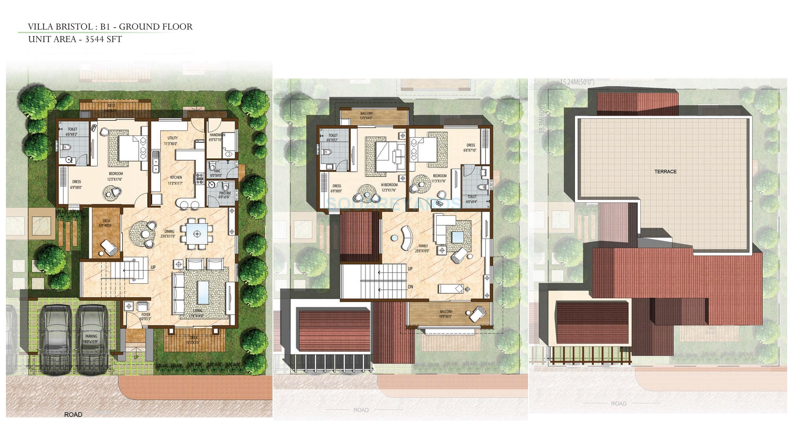 3 bhk house plans in bangalore for Villa floor plans india