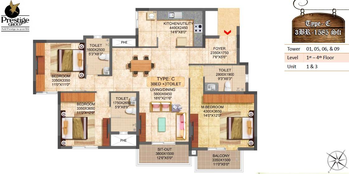 prestige boulevard apartment 3bhk 1585sqft 1