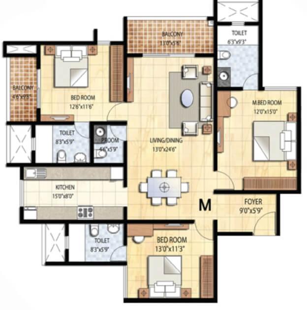prestige falcon city apartment 3bhk 1204sqft1