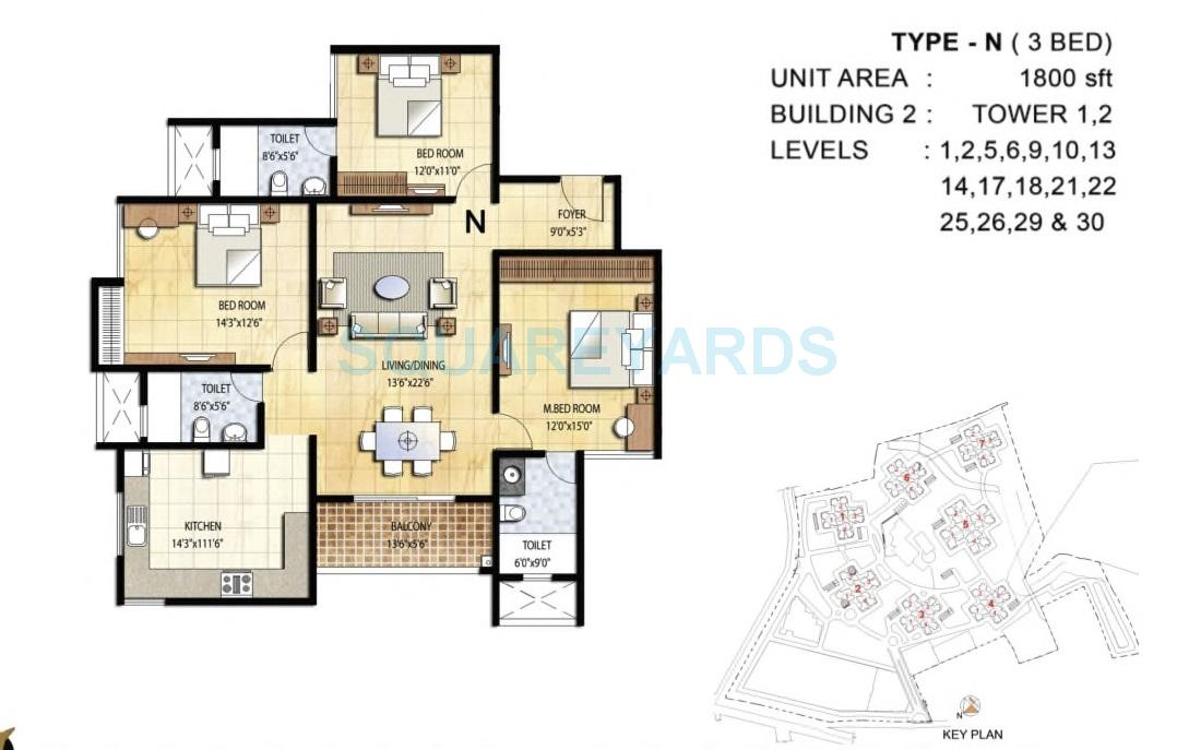prestige falcon city apartment 3bhk 1800sqft1