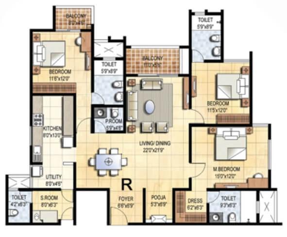 prestige falcon city apartment 3bhk sq 1450sqft 1