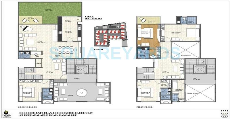 Garden By The Bay Floor Plan 4 bhk 3978 sq. ft. apartment for sale in prestige garden bay at rs
