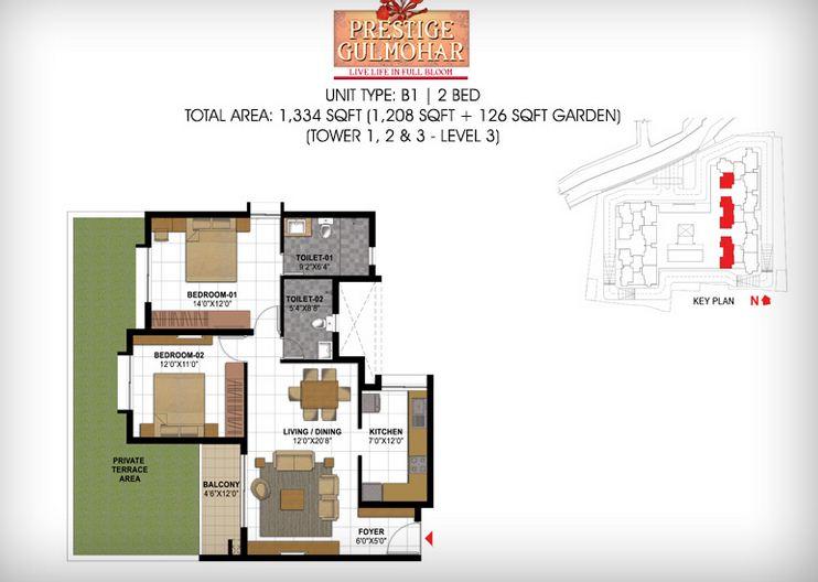 prestige gulmohar apartment 2bhk 1344sqft 181