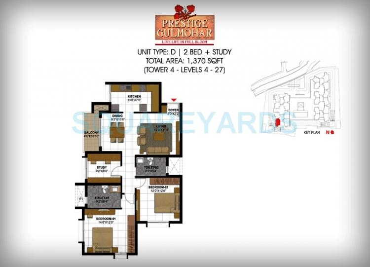 prestige gulmohar apartment 2bhk 1370sqft1