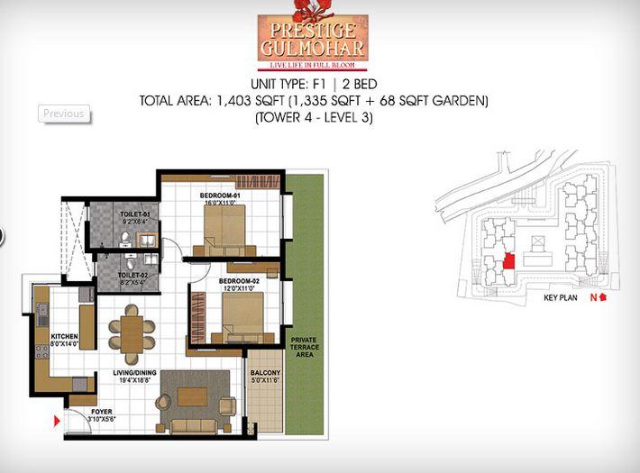 prestige gulmohar apartment 2bhk 1403sqft1