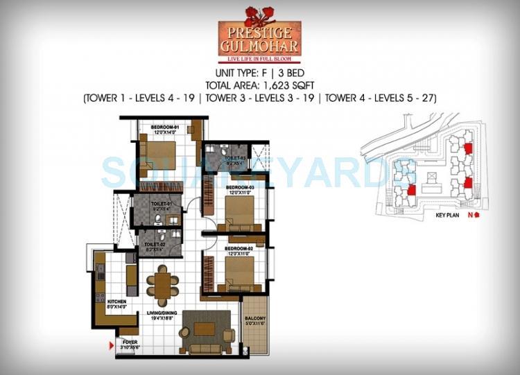 prestige gulmohar apartment 3bhk 1623sqft1