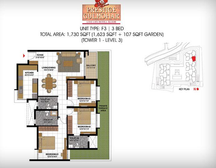 prestige gulmohar apartment 3bhk 1730sqft1