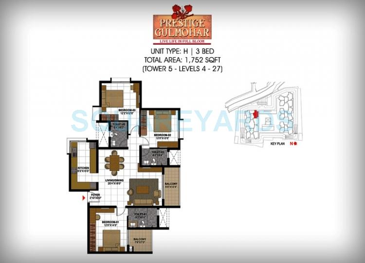 prestige gulmohar apartment 3bhk 1752sqft1