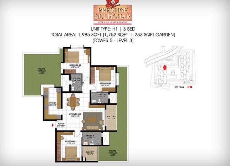 prestige gulmohar apartment 3bhk 1985sqft1