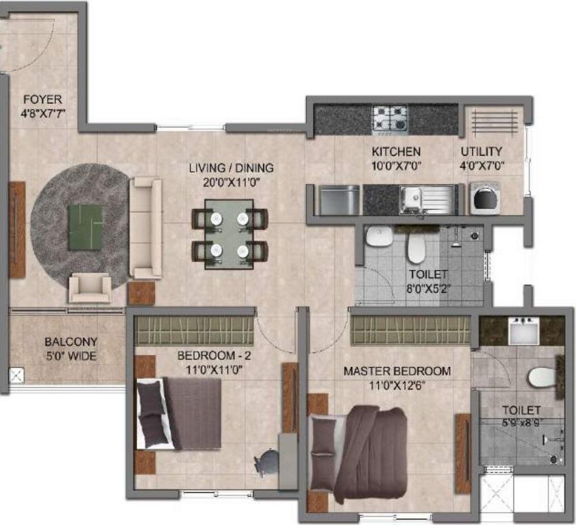 prestige jindal city apartment 2bhk 1058sqft341