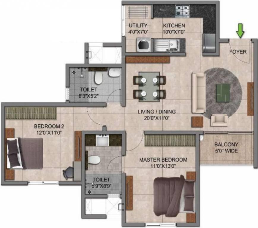 prestige jindal city apartment 2bhk 1072sqft341