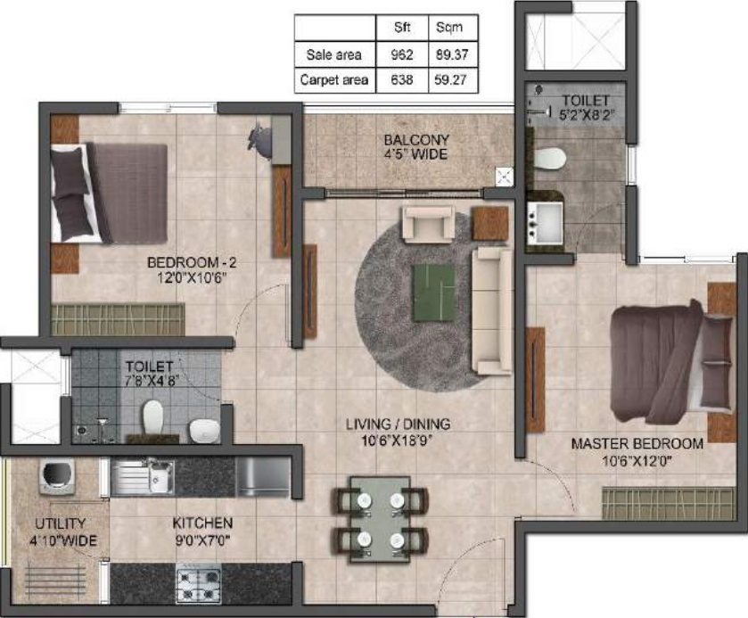 prestige jindal city apartment 2bhk 962sqft341