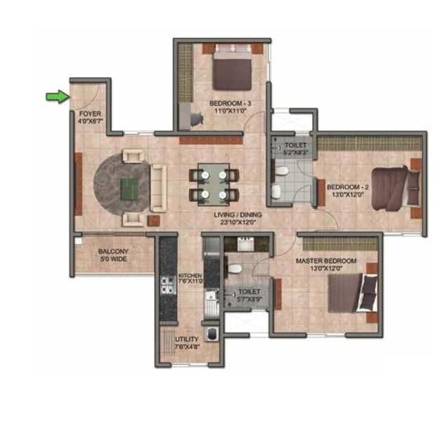 prestige jindal city apartment 3bhk 1657sqft341