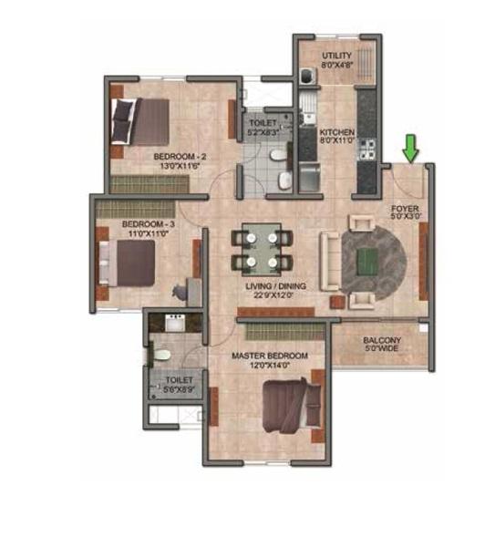 prestige jindal city apartment 3bhk 1730sqft341