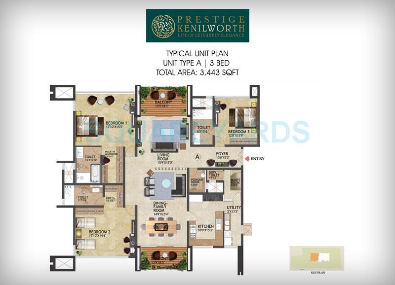 prestige kenilworth apartment 3bhk 3443sqft1