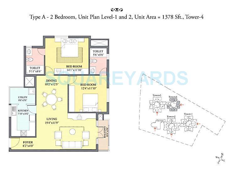 prestige kensington gardens apartment 2bhk 1378sqft 1