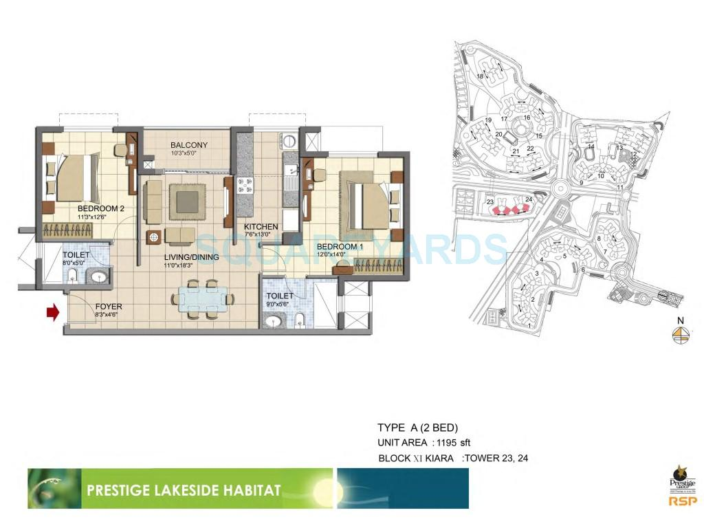 prestige lakeside habitat apartments apartment 2bhk 1195sqft1