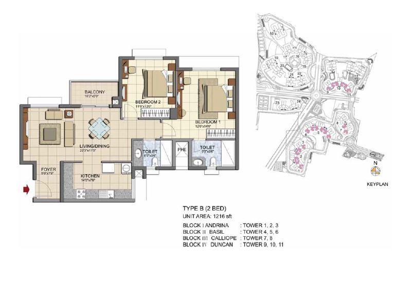 prestige lakeside habitat apartments apartment 2bhk 1216sqft1