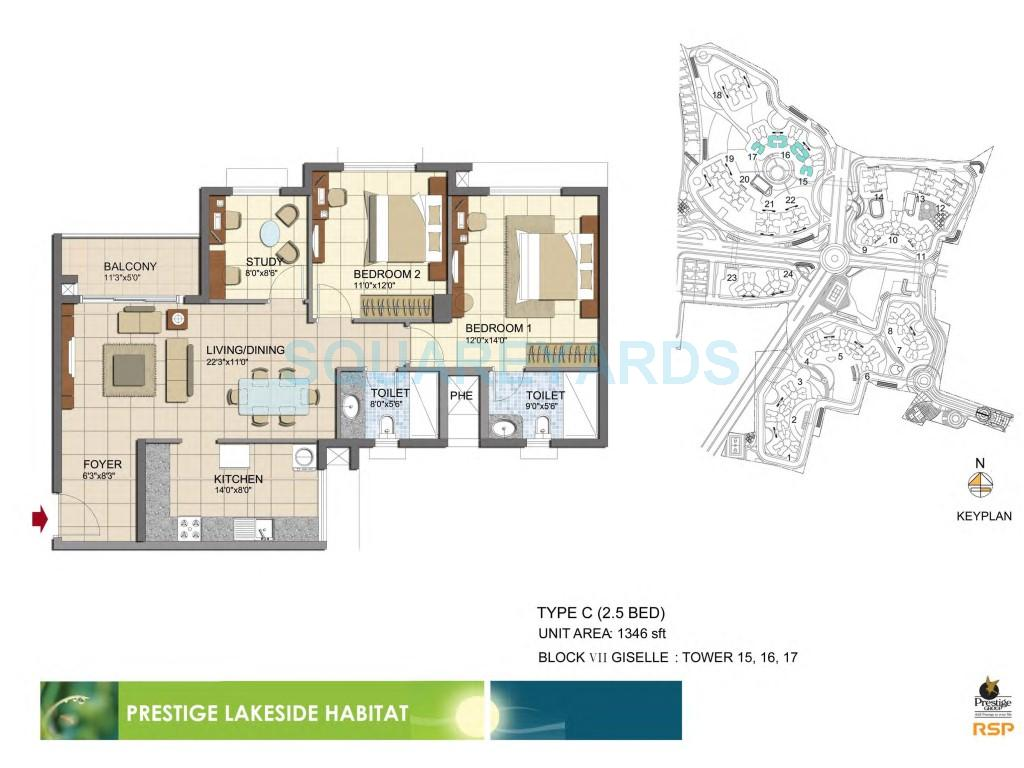 prestige lakeside habitat apartments apartment 2bhk 1346sqft1
