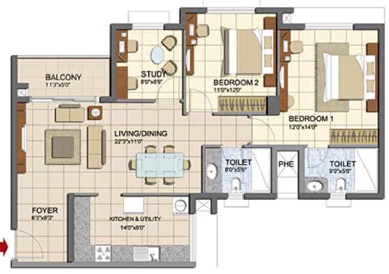 prestige lakeside habitat apartments apartment 2bhk 947sqft1