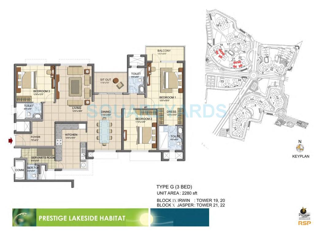 prestige lakeside habitat apartments apartment 3bhk 2280sqft1