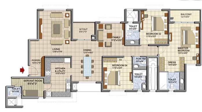 prestige lakeside habitat apartments apartment 3bhk sq 1742sqft 1