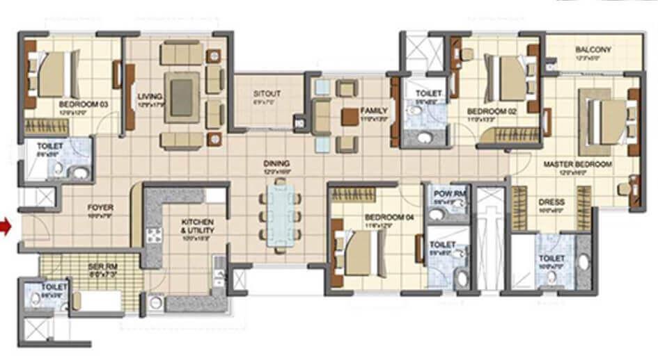 prestige lakeside habitat apartments apartment 4bhk sq 2004sqft 1