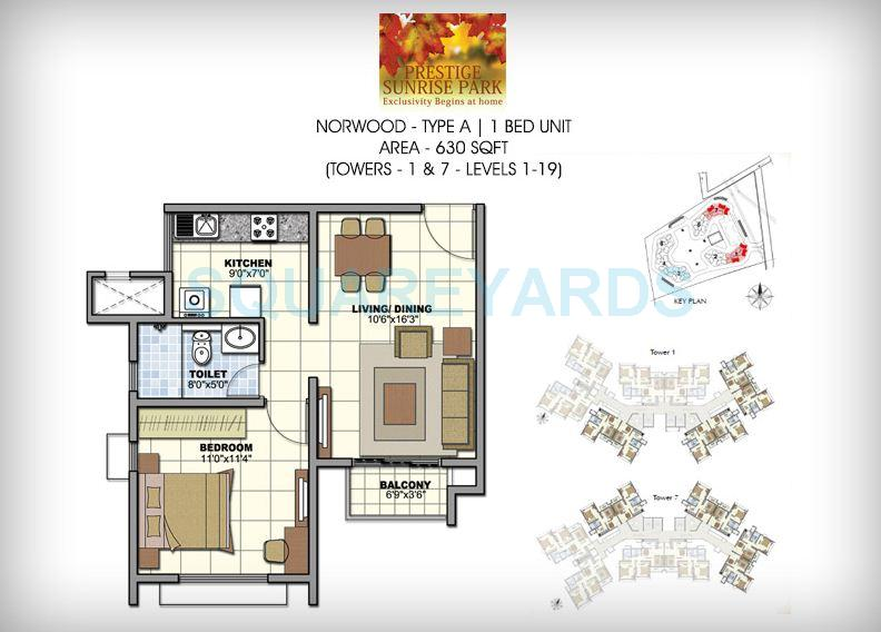 prestige norwood apartment 1bhk 630sqft1