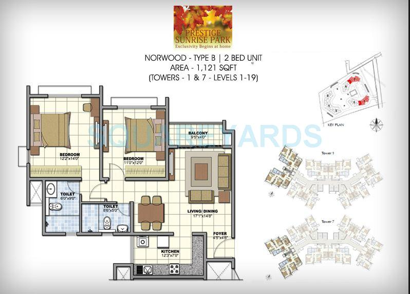 prestige norwood apartment 2bhk 1121sqft1