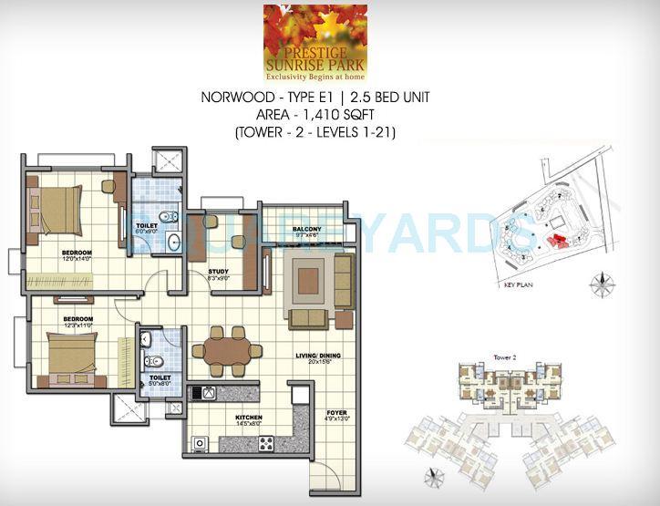 prestige norwood apartment 2bhk 1410sqft1