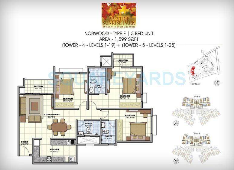 prestige norwood apartment 3bhk 1599sqft1