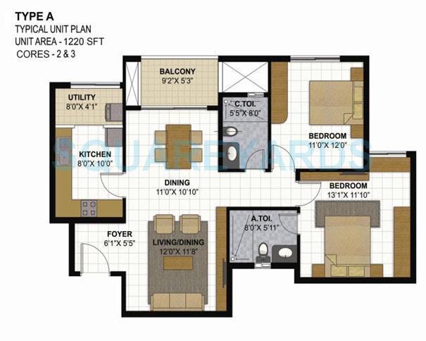 prestige parkview apartment 2bhk 1220sqft1