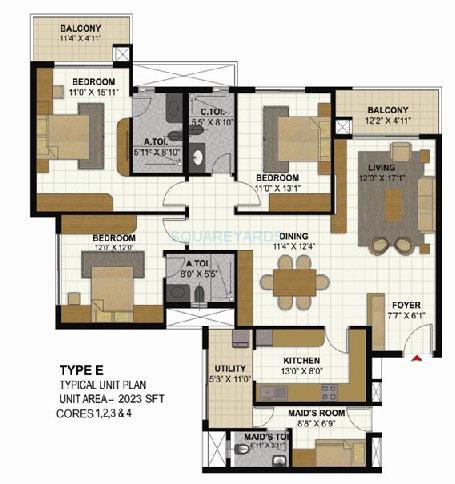 prestige parkview apartment 3bhk 2023sqft1