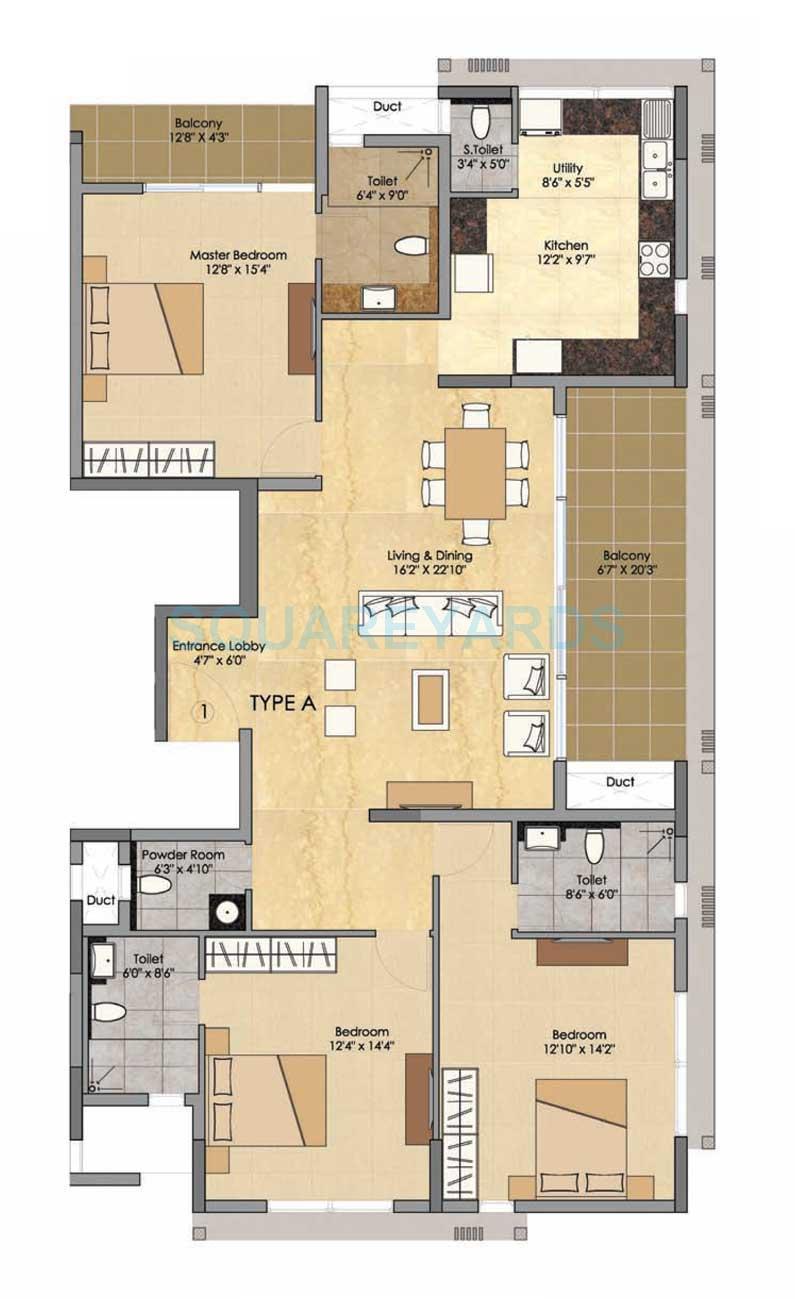 prestige richmond apartment 3bhk 1830sqft1