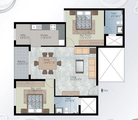 prestige silver crest apartment 2bhk 1175sqft1