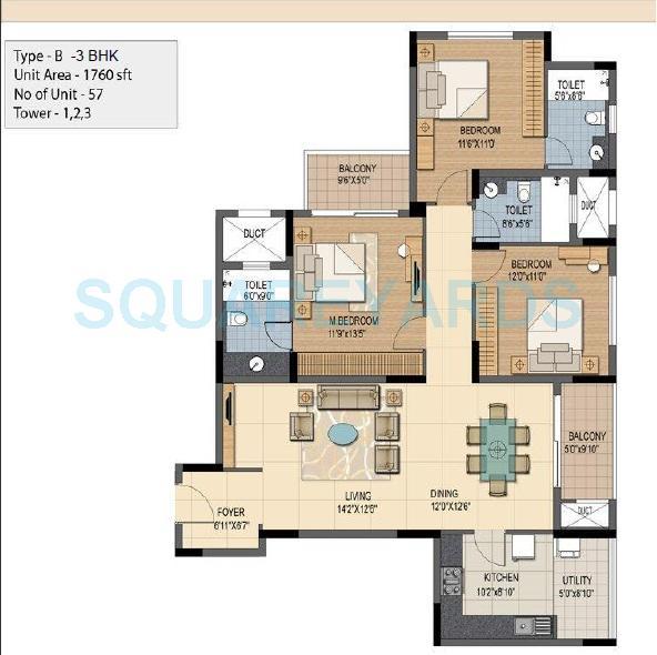 prestige sunnyside apartment 3bhk 1760sqft1