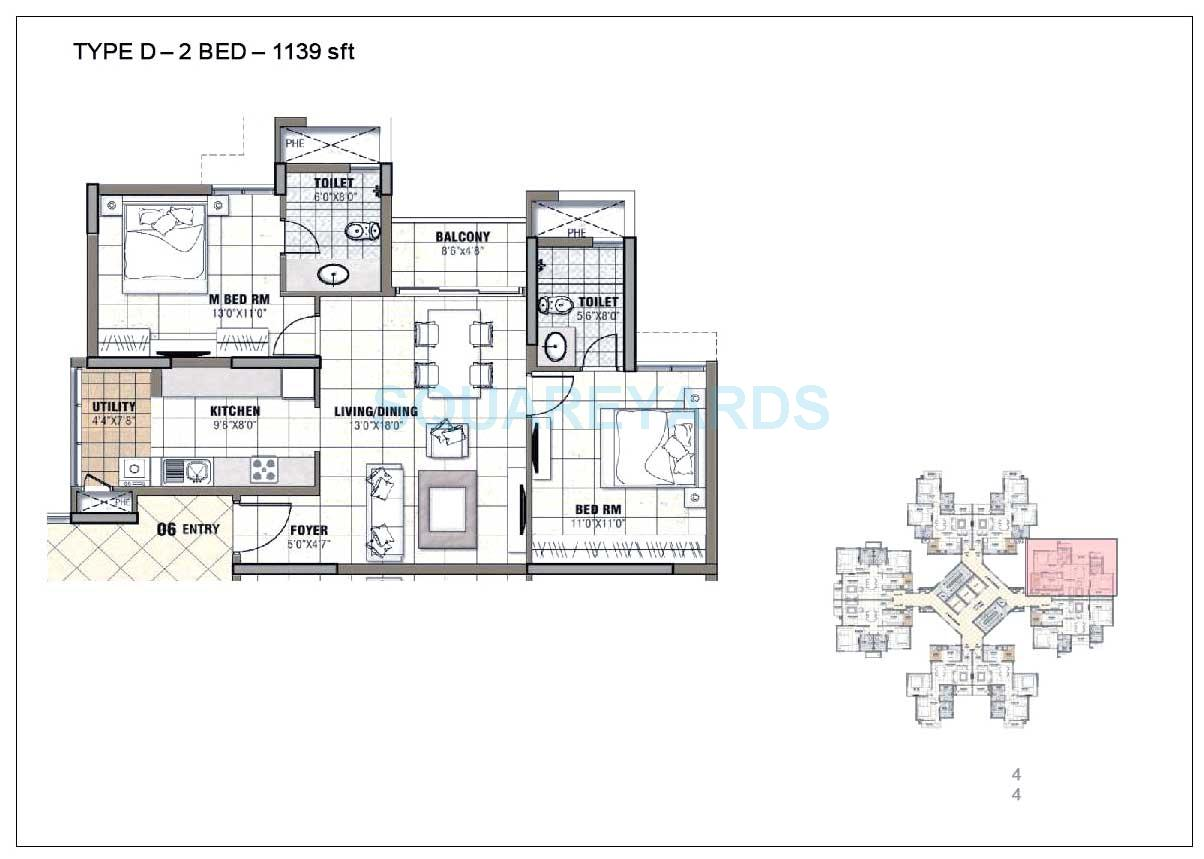 prestige tranquility apartment 2bhk 1139sqft1