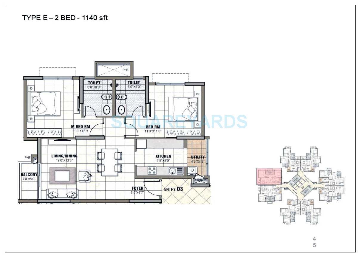 prestige tranquility apartment 2bhk 1140sqft 1