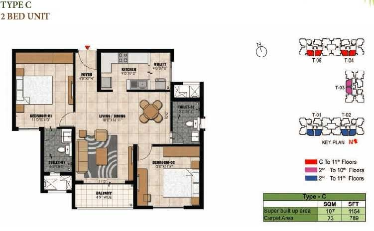 prestige willow tree apartment 2bhk 1154sqft1