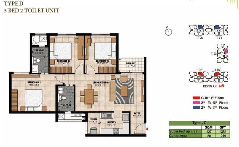 prestige willow tree apartment 3bhk 1364sqft1