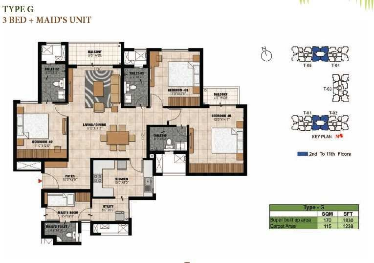 prestige willow tree apartment 3bhk 1830sqft1