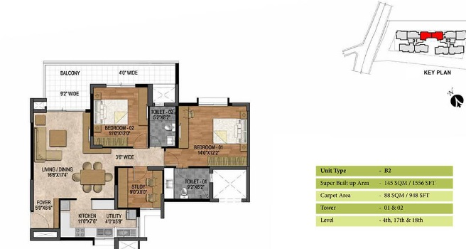 prestige woodland park apartment 2bhk 1556sqft 20205402155439