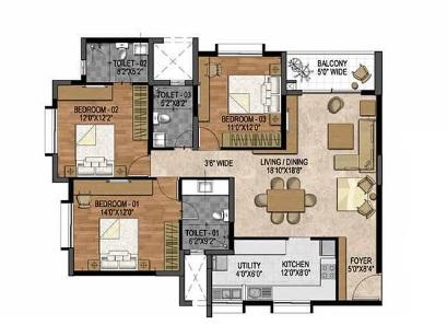 prestige woodland park apartment 3bhk 1677sqft 20205602155606