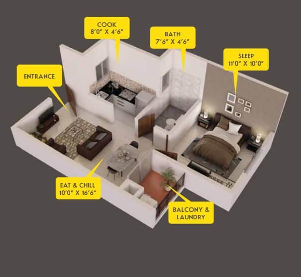 provident capella apartment 1bhk 570sqft 1