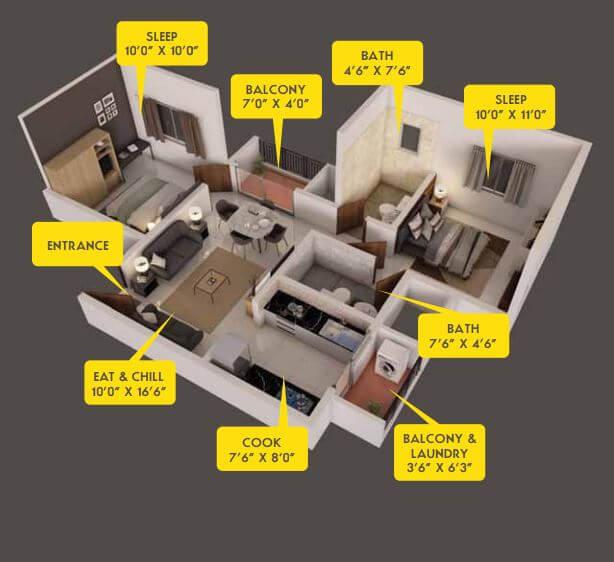 provident capella apartment 2bhk 880sqft 1