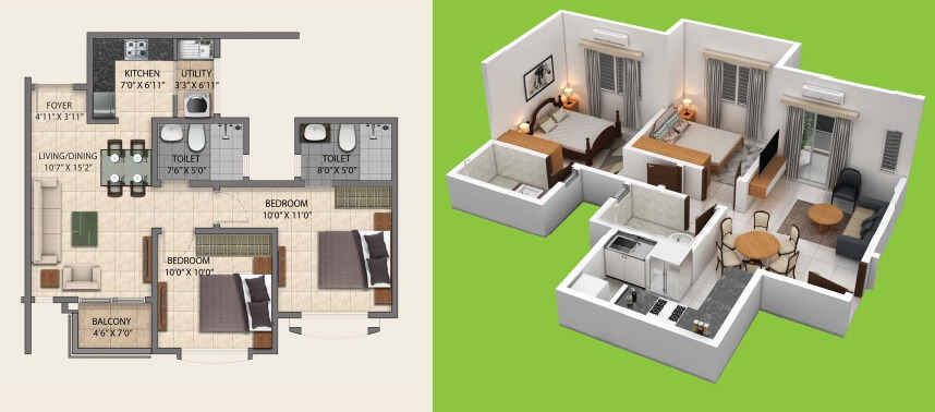 provident central park apartment 2bhk 600sqft 1