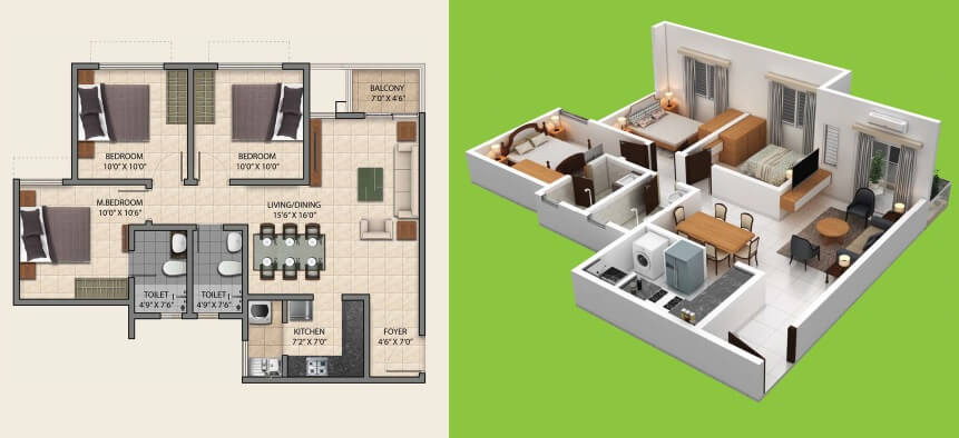 provident central park apartment 3bhk 780sqft 1