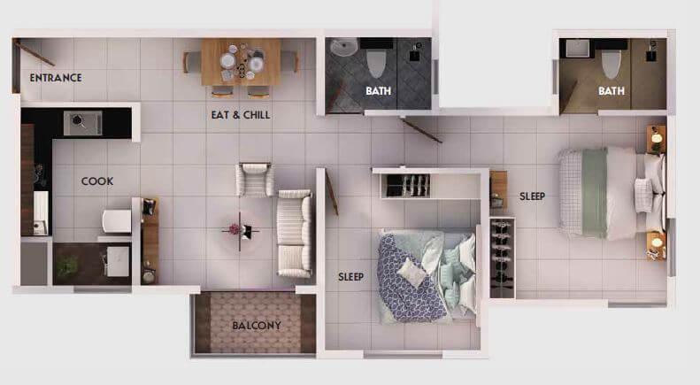 provident equinox apartment 2bhk 883sqft 1