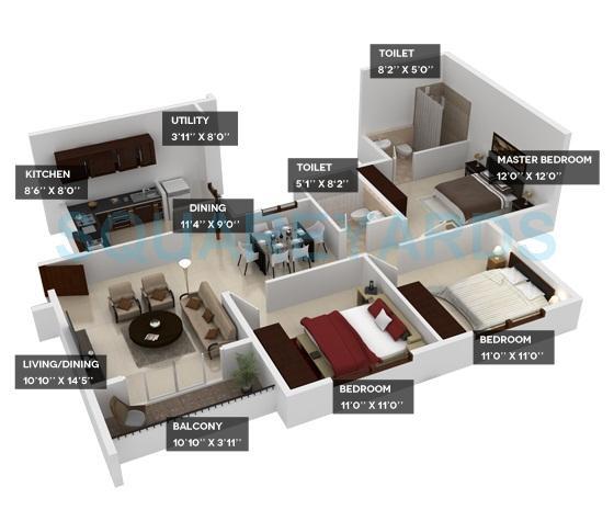 provident harmony apartment 3bhk 1241sqft1