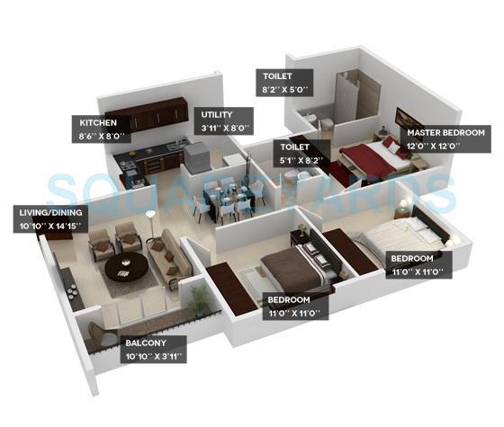 provident harmony apartment 3bhk 1262sqft1